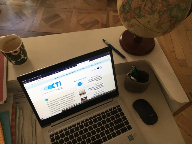 Laptop on a home desk with CTI page opened