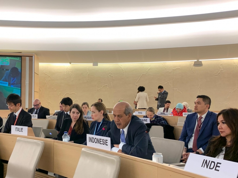 H.E. Hasan Kleib, Ambassador and Permanent Representative of Indonesia to the United Nations in Geneva, addressing the Human Rights Council