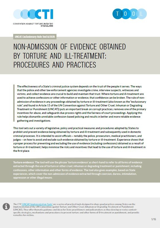 Non-admission of evidence obtained by torture and ill-treatment