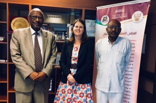 Dr. Tarig Mubarak Magzoub, Dr. Alice Edwards (CTI) and Ambassador Sayed Altayeb Ahmed