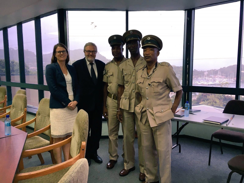 CTI delegation with members of the Grenada Prison Service, including the Superintendent of Prisons, Derek John.