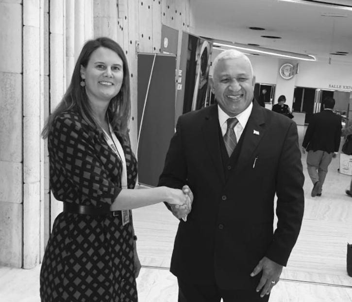 Sealing the deal: Hon. Josaia Voreqe Bainimarama, Prime Minister of Fiji, shaking hands with Dr. Alice Edwards, Head of the CTI Secretariat.