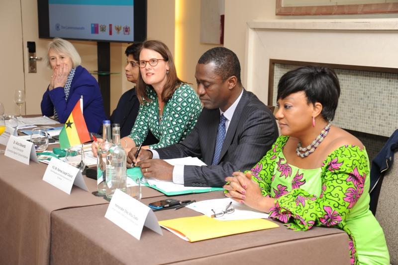 Dame Anne Owers (IMB, UK), Ambassador Khan (Fiji), Dr. Alice Edwards (CTI Secretariat) Ambassador Cleland (Ghana) and Honourable Minister Djaba (Ghana).