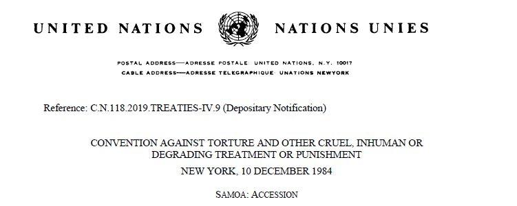 Samoa accession to united nations UNCAT