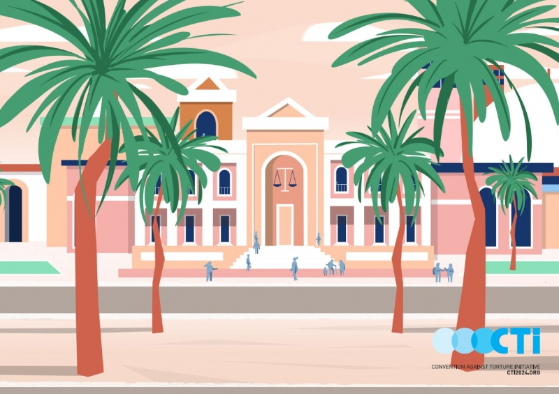 CTI illustration - building with palm trees in front