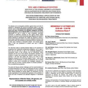 UNGA70 side event: The Extraterritorial Application of the Prohibition of Torture
