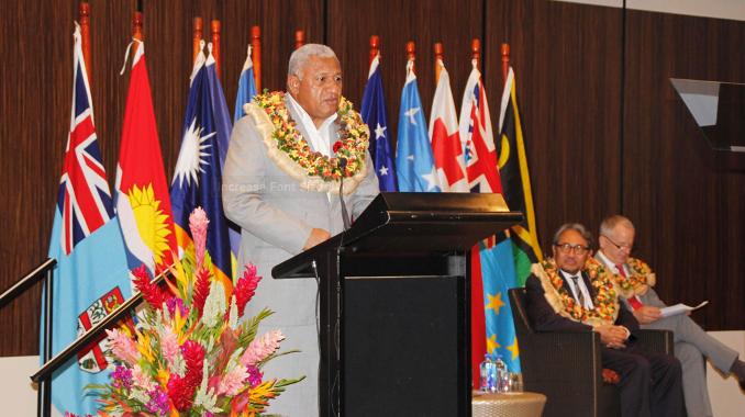 Hon. Josaia Voreqe Bainimarama, Prime Minister of Fiji, speaking at a CTI event